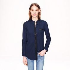 Collection Thomas Mason® for J.Crew leather-trim tunic in navy - AllProducts - nullsale - J.Crew