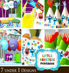 Little Monsters Printables  a customized party by 7under1designs, $25.00