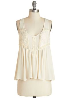 The Only Pearl for Me Top. When it comes time to get ready for Sunday brunch, theres only one pretty pick for you - this sweet ivory top. #cream #modcloth