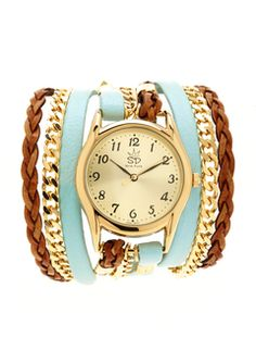 Blue/Gold Leather and Chain Wrap Watch