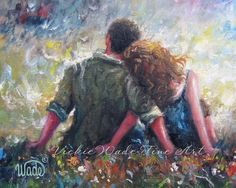 Loving Couple Art Print lovers hugging wall by VickieWadeFineArt