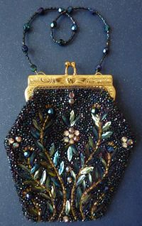 Hand beaded bag by Karen Torisi. Something like this would be very nice with real beetlewings.....