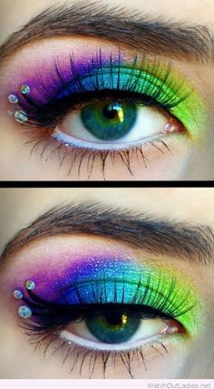 Rainbow eye makeup for blue eyes with details