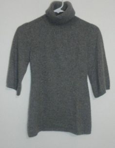$49.95 OBO beth bowley 100% cashmere gray turtleneck 3/4 sleeve bell sweater  size: xs #freeshipping