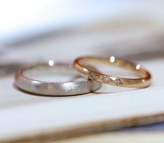 プラチナとピンクゴールドの結婚指輪(オーダーメイド/手作り) [マリッジリング,Pt900,K18PG,ダイヤモンド,marriage,wedding,ring]