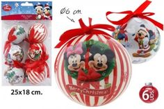 Disney Mickey & Minnie Mouse  & Christmas Baubles Set of 6. Christmas Tree Decoration, Diameter  Ø6cm
