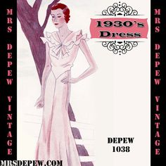 Vintage Sewing Pattern 1930's Dress in Any Size Depew by Mrsdepew, $8.50