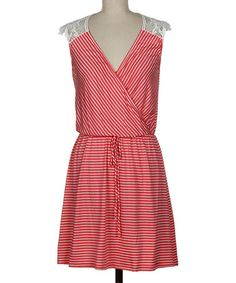 Coral & White Stripe Lace Surplice Dress by Fashionomics #zulily #zulilyfinds