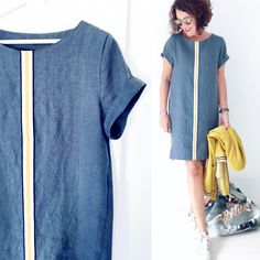 And much more I like to sew my own, personal Jeans. Next Jeans Sew Along I am going to s Tee Dress, Jeans Dress, Dress Patterns, Easy Sewing Patterns, Next Jeans, Sewing Jeans, Cocoon Dress, Sewing Courses, Diy Vetement