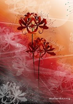 Anime Flower, Flower Art, Chinese Painting, Chinese Art, Anime Chibi, Anime Art, Red Spider Lily, Art Graphique, Couple Art