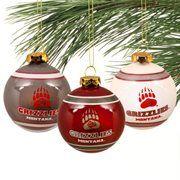 Montana Grizzlies Three-Pack Glass Ball Ornament Set