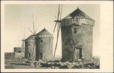 rhodos rodi i vecchi molini greece windmill mill real photo Rare Photos, Old Photos, Greece Rhodes, Stamp Auctions, Buy Stamps, Stamp Collecting, Greek Islands, Rhode Island, Barcelona Cathedral