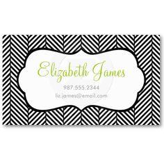 Black & White Herringbone Business Cards