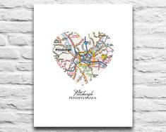 PITTSBURGH PENNSYLVANIA VINTAGE HEART PRINTABLE    **This listing is for an INSTANT DOWNLOAD of both of the JPEG files of this artwork**