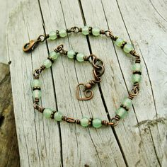 Aventurine stone beads wire wrapped bracelet with a bear hug
