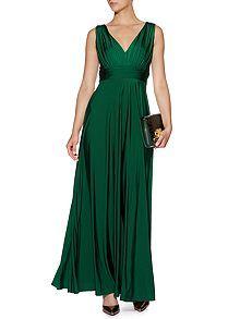 Deep V full skirted maxi dress