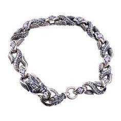 .925 Thai Silver Bracelet Vintage Jewelry for Men's Fashion Dragon Style