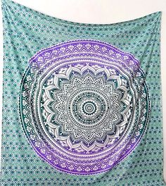 PURPLE MANDALA Multi Color Large Hippie Tapestry Boho Psychedelic Wall Hanging Bohemian Hippy Mandala Bed Bedspread Throw Bedding Ethnic Art