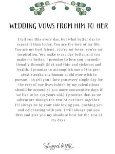 Personalized Real Wedding Vows That Youll Love Snippet & Ink