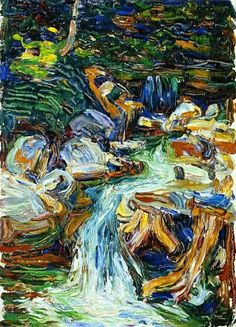 Expressionismus in Deutschland — Wassily Kandinsky, Waterfall II, 1902 Henri Matisse, Abstract Landscape Painting, Landscape Paintings, Landscapes, Oil Paintings, Art Kandinsky, Wassily Kandinsky Paintings, Ernst Ludwig Kirchner, Art Abstrait