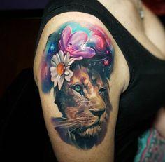Cosmic lion tattoo by Tyler Malek