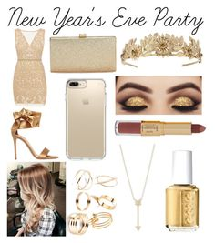 """""""New Year's Eve"""" by kkbaby24 ❤ liked on Polyvore featuring Nicole Miller, Gianvito Rossi, La Regale, Speck, EF Collection, Essie and tarte"""