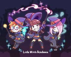 Little Witch Academia Little Wich Academia, My Little Witch Academia, Kawaii Chibi, Kawaii Anime, 2017 Anime, Mirai Nikki Future Diary, Kpop Drawings, Japanese Cartoon, Cute Art