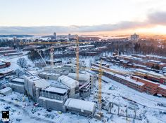 New campus building of Aalto University under construction in Espoo, Finland