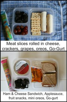 Easy School Lunch Ideas (modified with some of my own ideas):     Sandwiches:  PB  Ham & Cheese  Meat & Cheese wraps   Meat & Cheese Roll-Ups w/crackers    Snacks & Sides:  Cheese sticks or cheese cubes  Crackers  Homemade Fruit Snacks  Pretzels  GoGurt   Goldfish   Fruit:  Applesauce  Cuties  Apple slices  Grapes  Berries (blueberries, strawberries)    Veggies:  Baby Carrots  Celery   Cucumber spears  Cherry Tomatoes