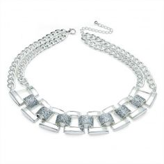 Shiny Silver Colour Glitter Necklace