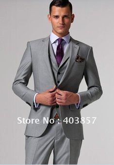 Grey suit and purple ties, allows for more color selectiln in the purples, so you get the exact shade....
