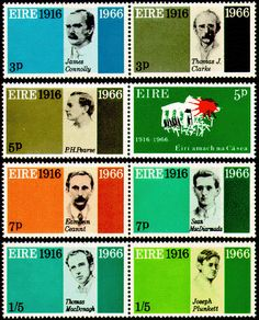 Scott #206-213 (1966) commemorating the 50th anniversary of the Easter Rising. The seven signers of the Proclamation of the Republic and a symbolic representation of the GPO are illustrated.