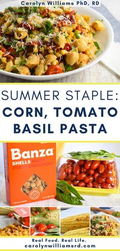 What do you do with an overload of summer tomatoes, shucked corn, and fresh basil? Create a new, gluten-free healthy summer meal! Serve as a hot pasta or a cold healthy pasta salad. Healthy Pasta Salad, Healthy Pastas, Nutritious Meals, Real Food Recipes, Cooking Recipes, Tomato Basil Pasta, Clean Dinners, Summer Tomato, Healthy Summer Recipes