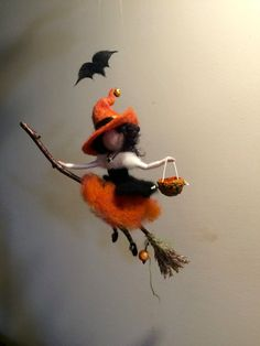 Needle felted Fairy Waldorf inspired Witch with a magic broom Halloween Wool WitchOrange Mobile Art doll Autumn ornament Halloween Doll, Halloween Crafts, Diy Laine, Autumn Fairy, Felt Fairy, Fairy Dolls, Felt Ornaments, Needle Felted Ornaments, Felt Dolls