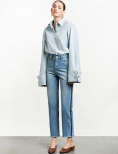 Side Stripe Denim Straight Leg Jeans