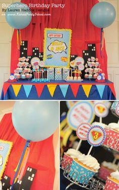Superhero Birthday Party Theme Boys Kids Brothers Red Blue Yellow
