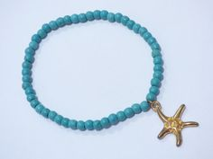 Check out this item in my Etsy shop https://www.etsy.com/es/listing/452869672/turquoise-starfish-bracelet-pu052