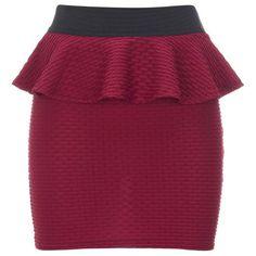 Lipsy Textured Peplum Skirt ($40) ❤ liked on Polyvore
