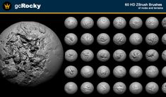 gcRocky is a pack of 60 HD brushes for ZBrush organized in 16 different styles. Every brush has 4K of details, so you can build your own customized rock and terrain. Ready for production.