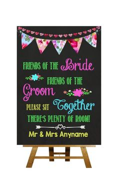 Bright Chalkboard Style Please Sit Together Personalised Wedding Sign: Amazon.co.uk: Office Products