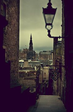 Edinburgh (view over Princes Street and Scott monument from the Old Town)