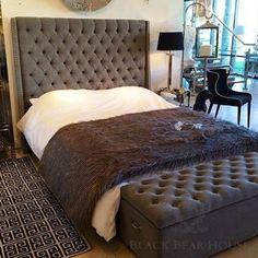 łóżko szare tapicerowane w stylu new york back bear house