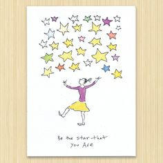 Star That You Are greeting card, Birthday card, graduation card, friendship card, hand drawn and eco friendly by Rosieswonders on Etsy
