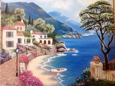 Romantic love sea DIY oil painting By Numbers Kits Paint On Canvas landscape picture for bedroom decoration Landscape Drawings, Landscape Pictures, Landscape Paintings, Bob Ross Paintings, Scenery Paintings, Belle Image Nature, Art Pictures, Photos, Sea Art