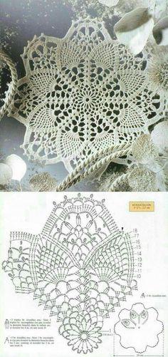 lots of doily patterns. Filet Crochet, Art Au Crochet, Mandala Au Crochet, Crochet Doily Patterns, Crochet Squares, Crochet Home, Thread Crochet, Crochet Designs, Crochet Crafts