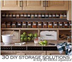 30 DIY Storage Solutions to Keep the Kitchen Organized {Saturday Inspiration & Ideas} - bystephanielynn