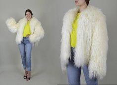 1970's Mongolian Lamb Fur Coat rare 70's Shaggy