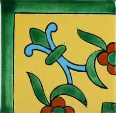 Especial Mexican Tile - Flor De Liz Corner Amarilla Y Azul – Mexican Tile Designs