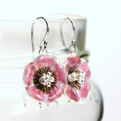 Evangeline ... Cranberry Mauve Pink Chinese Cloisonne Floral Poppy Flower Drop Sterling Silver ... Peony Earrings