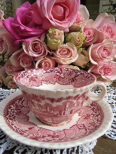 ❥ Mason's Vista England teacup and birthday roses by Meg Cards, via Flickr
